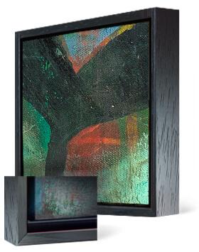 Black wooden float frame for Giclee fine art canvas and custom framed artwork